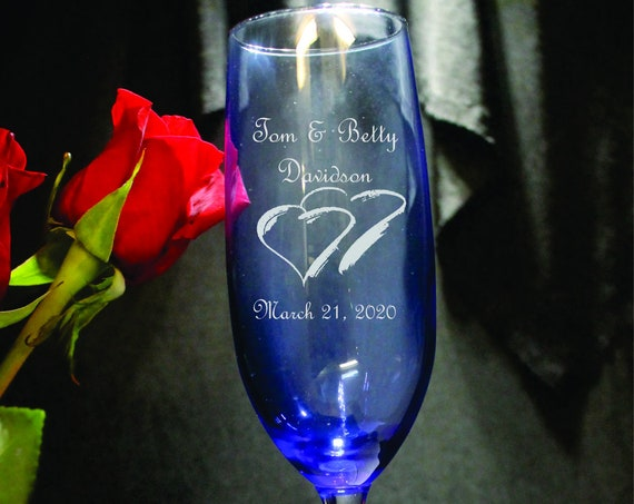 Wedding Blue Tint Style Laser Engraved Flutes( set of 2 ) Ideal for that Special occasions (PLEASE READ DESCRIPTION)