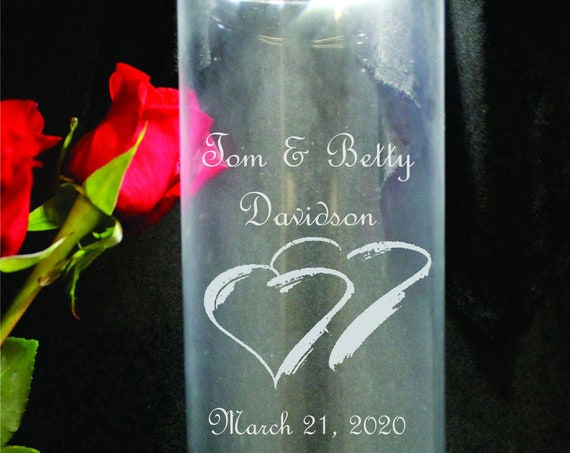 "10"" Tall Crisa  Laser Engraved Wedding Vase or Pillar Unity Candle Holder.  (PLEASE READ DESCRIPTION)"