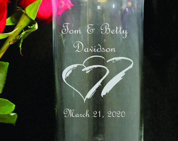 "9"" Flared Top Laser Engraved Wedding Vase or Pillar Unity Candle Holder.  (PLEASE READ DESCRIPTION)"