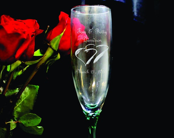 Wedding Emerald Stem Laser Engraved Flutes( set of 2 ) Ideal for that Special occasions (PLEASE READ DESCRIPTION)