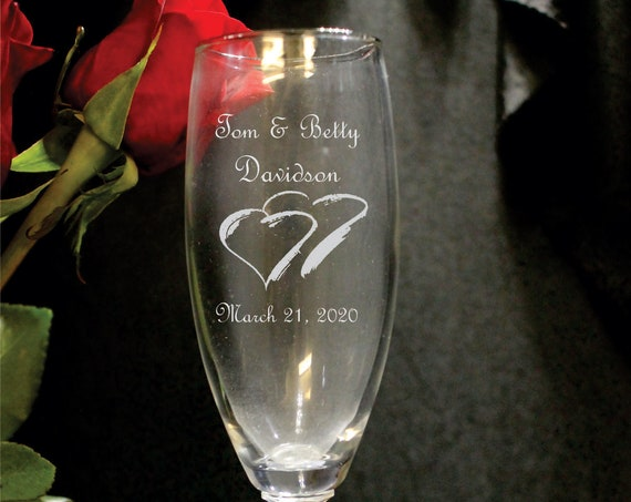 Wedding Napa Valley Hex Stem Laser Engraved Flutes( set of 2 ) Ideal for that Special occasions (PLEASE READ DESCRIPTION)