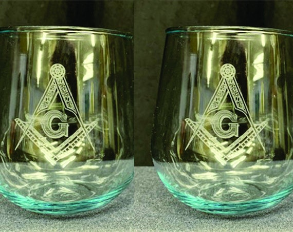 Masonic 12oz. Stemless Wine Glasses ( set of 2 )