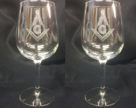Masonic 12.25 oz Wine Glasses ( set of 2 )(Please Read Description) (DISCOUNTS AVAILABLE)
