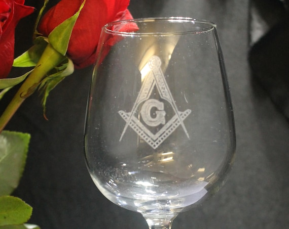 Masonic 12.25 oz Wine Party Glasses ( set of 2 )(Please Read Description) (DISCOUNTS AVAILABLE)