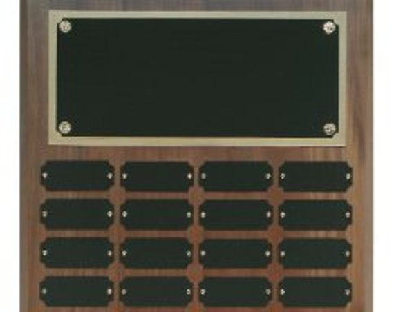 Walnut Perpetual plaque with choice of 36, 45 or 60 plate (PLEASE READ DESCRIPTION)