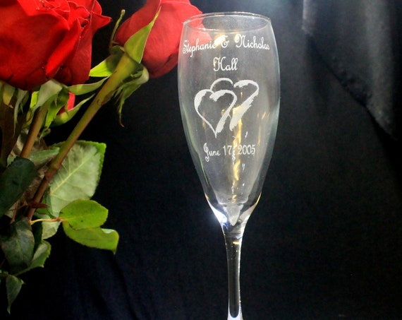 Wedding Tear Drop Laser Engraved Flutes( set of 2 ) Ideal for that Special occasions (PLEASE READ DESCRIPTION)