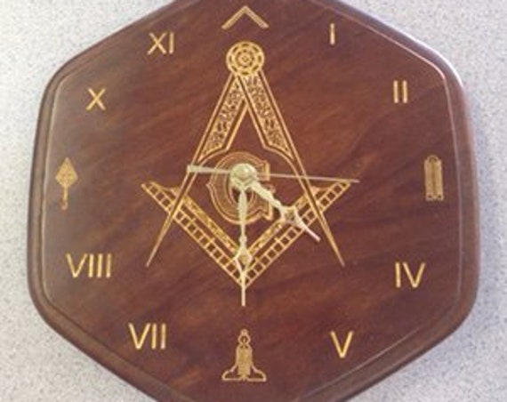 Solid Cherry Masonic Clock