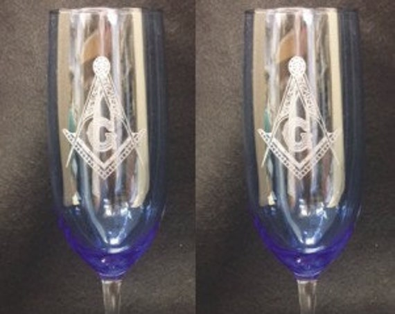 Masonic  Laser Engraved Flutes( set of 2 ) Ideal for Special occasions including Table Lodges with an eloquent twist