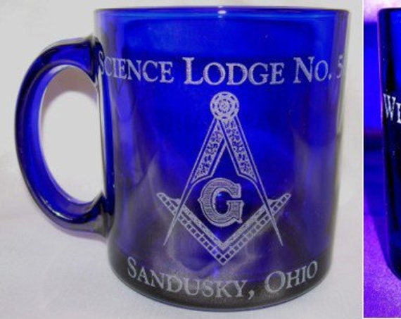 Masonic Personalized 13 oz. Coffee Cup with your choice of Cobalt Blue or Clear