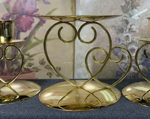 3 Piece Unity Wedding candle holder.  (Available at present in only  Gold)