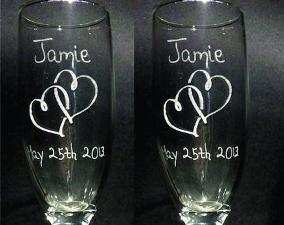 Wedding Classic Laser Engraved Flutes( set of 2 ) Ideal for that Special occasions (PLEASE READ DESCRIPTION)