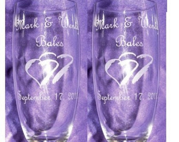 Wedding Plaza Style Laser Engraved Flutes( set of 2 ) Ideal for that Special occasions