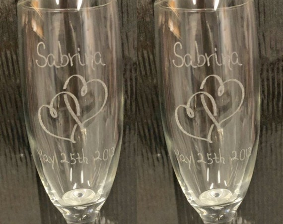Wedding Classic Laser Engraved Flutes( set of 2 ) Ideal for that Special occasions