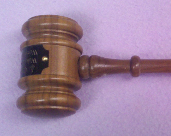 "Masonic or Organization Walnut Finish Personalized 10"" Gavel"