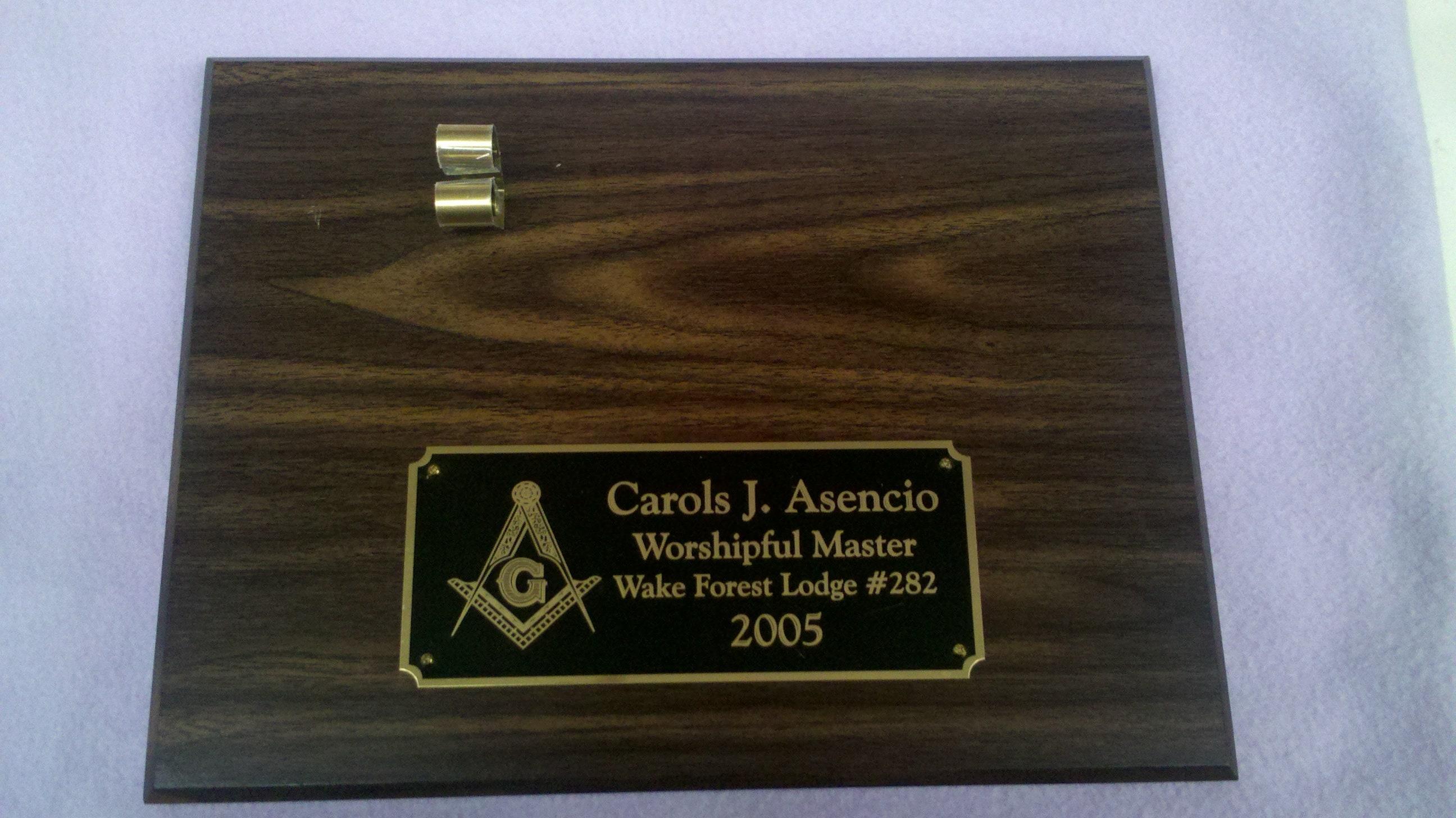 Masonic Walnut Finish Personalized 9 x 12 Plaque with Gavel