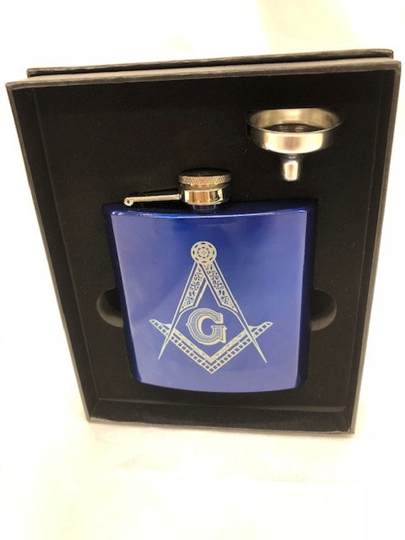 Personalized Masonic 6 oz. Stainless Steel Flask in presentation Box and Filling Funnel (PLEASE READ DESCRIPTION)