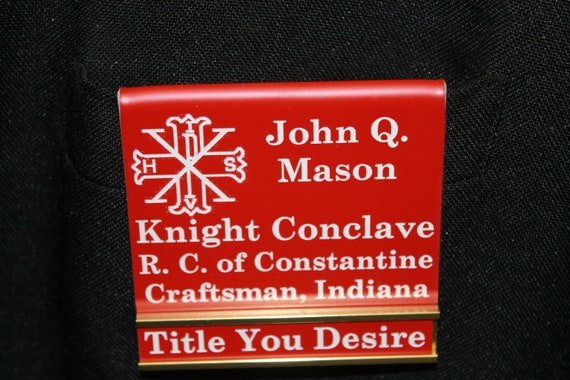 Red Cross of Constantine Officer or Members over the pocket Badge with interchangeable title slide bar