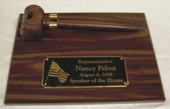 Organizational Walnut Finish Personalized 9 x 12 Gavel and Plaque