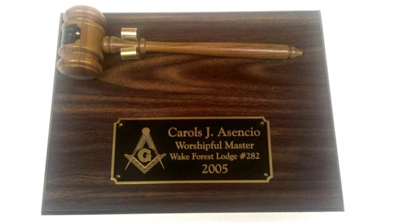 Masonic Walnut Finish Personalized 9 x 12 Gavel and Plaque (PLEASE READ DESCRIPTION)