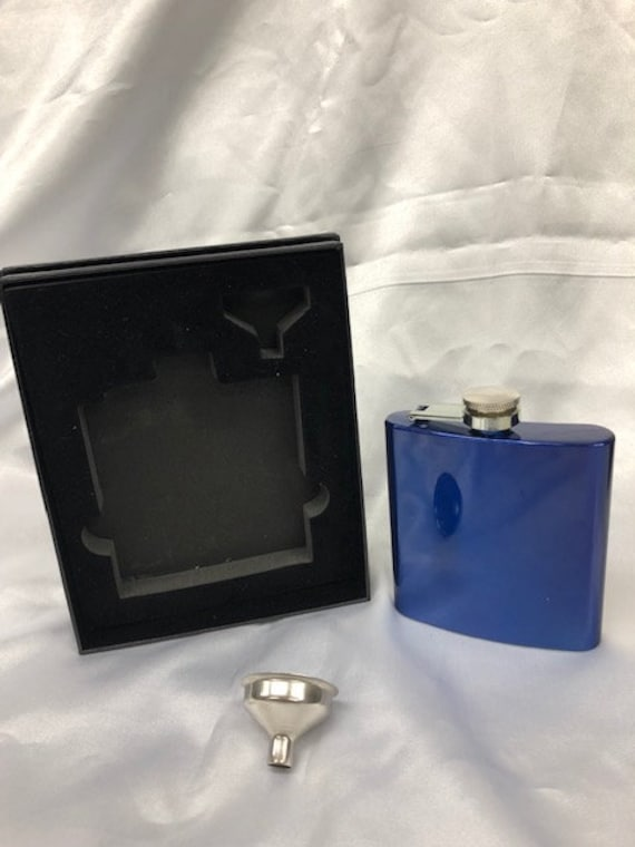 Personalized Wedding 6 oz. Stainless Steel Flask in presentation Box and Filling Funnel (One line above and one below emblem of choice)