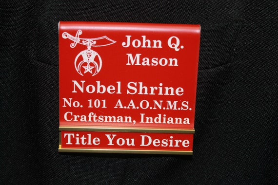 Shriners Officer or Members over the pocket or Magnetic Badge with changeable title slide (PLEASE READ DESCRIPTION) (Discounts Available)