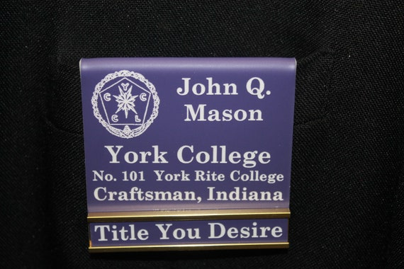 York Rite College Officer or Members over the pocket Badge with interchangeable title slide bar