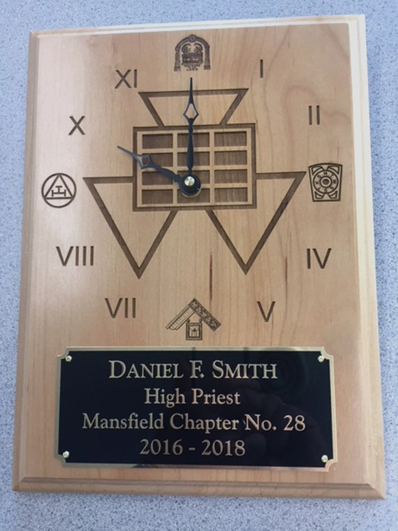 Royal Arch Masons 9 x 12 Laser Engraved recognition Clock Plaque