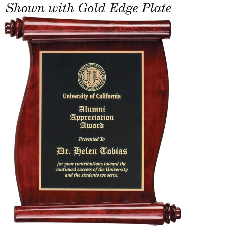 7.5 x 8.75 Scroll Rosewood Piano Finish plaque with Laser Engraved Face Plate PLEASE READ DESCRIPTION