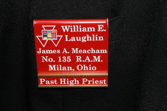 Past High Priest Officer or Members over the pocket or Magnetic Badge w/changeable title slide (PLEASE READ DESCRIPTION)(Discount Available)