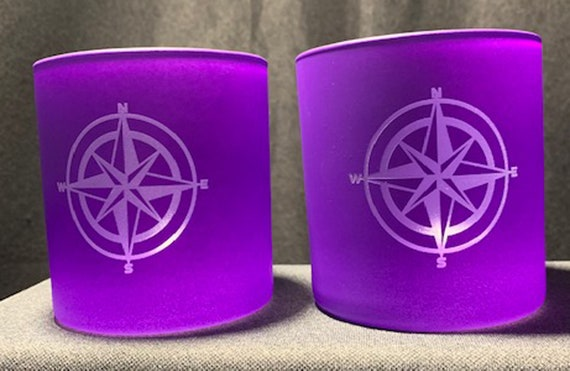 Nautical Compass 12oz. Purple On the Rocks Glasses ( set of 2 ) Limited Quantity