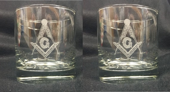 Masonic 10oz. On the Rocks Glasses ( set of 2 )