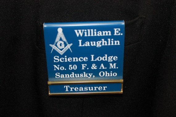Masonic Officer or Members over the pocket Badge with interchangeable title slide bar