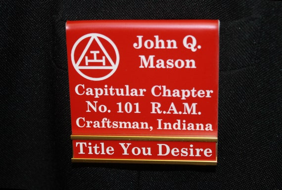 R.A.M. Officer or Members over the pocket Badge or Magnetic w/changeable title slide  (PLEASE READ DESCRIPTION) (Discounts Available)