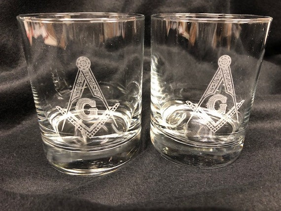 Masonic 12oz. Double On the Rocks Glasses ( set of 2 )