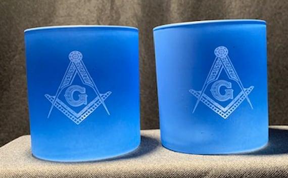 Masonic 12oz. Blue On the Rocks Glasses ( set of 2 ) Very Limited Quantity