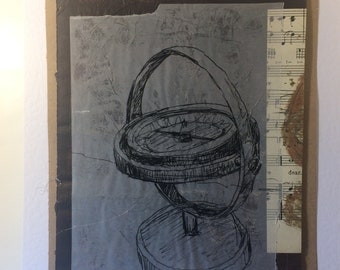 Black Pen line drawing of a brass compass onto tracing paper. Stave music paper. Mounted CroppedCreation. Work of Art ready to frame