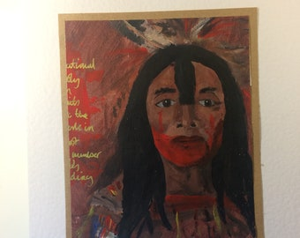 Acrylic Study of a George Catlin Portrait Sketchbook Page CroppedCreation. Gold Lettering. Mounted and Ready to Frame