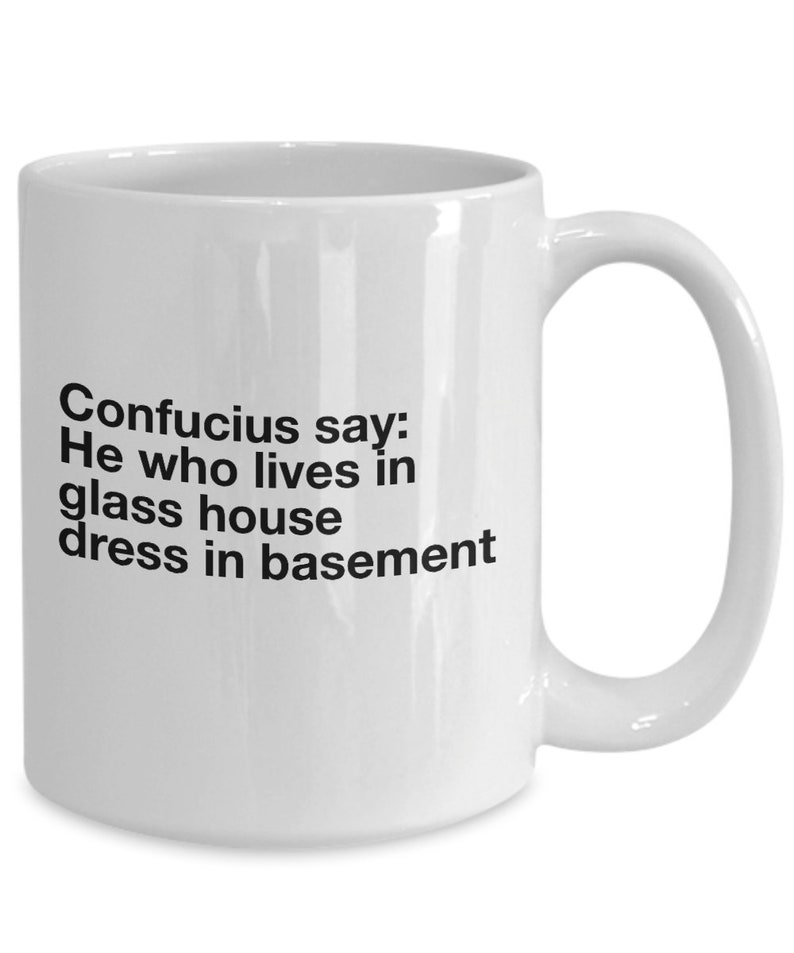 Confucious Say He Would Lives In Glass House Dress In Basement Funny Mug