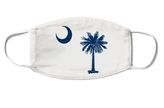 Face Mask South Carolina State Flag Palmetto And Crescent Moon Etsy