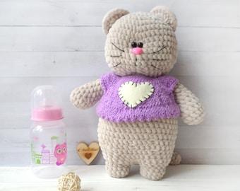 Plush cat handmade knitted cat toy amigurumi cat, miniature cat art dolls, wool toy, handmade crochet Baby gift Easter decor
