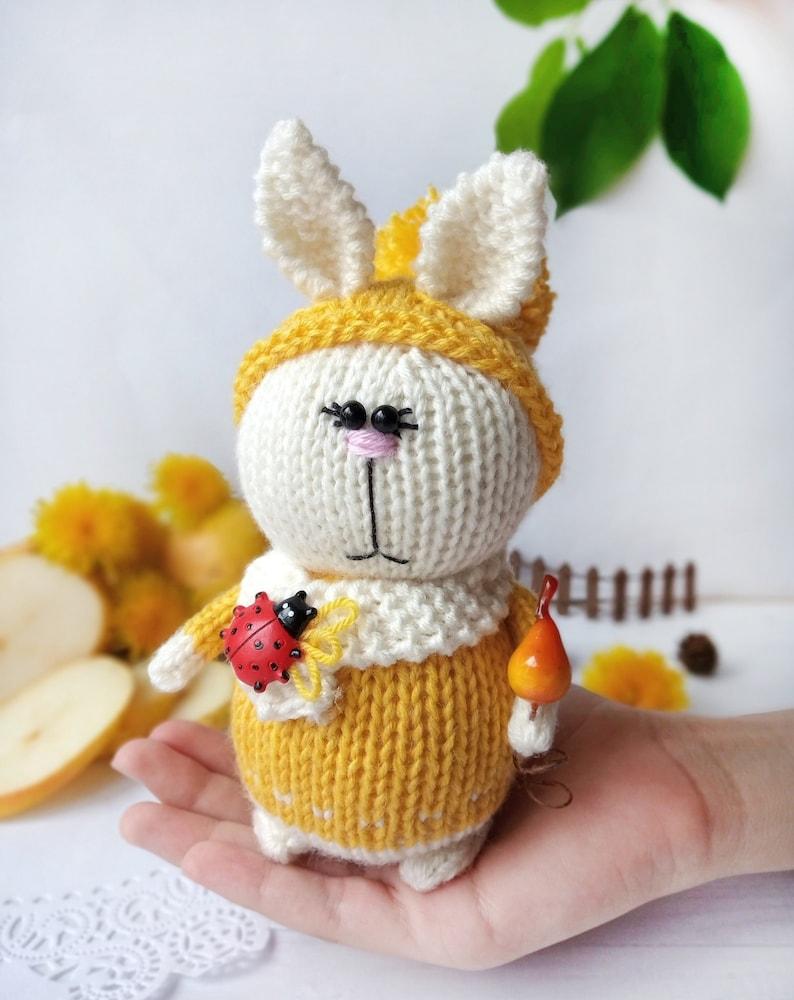 Knitted toy rabbit with pears rabbit plush toys rabbit hand-knitted amigurumi rabbit miniature rabbit doll plush toys rabbit  toys crochet