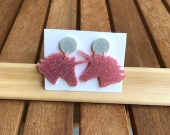 Pink Unicorn Drop Earrings