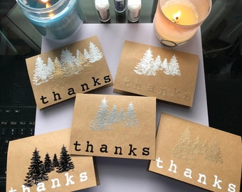 Forest embossed thank you cards, set of 5 with matching envelopes.