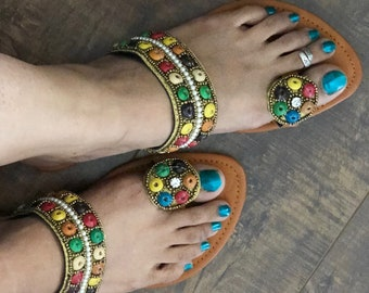 f88f946c9 Embellished Flip flop with wooden beads beads
