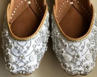 53b7d9716d25 White embellished wedding shoes