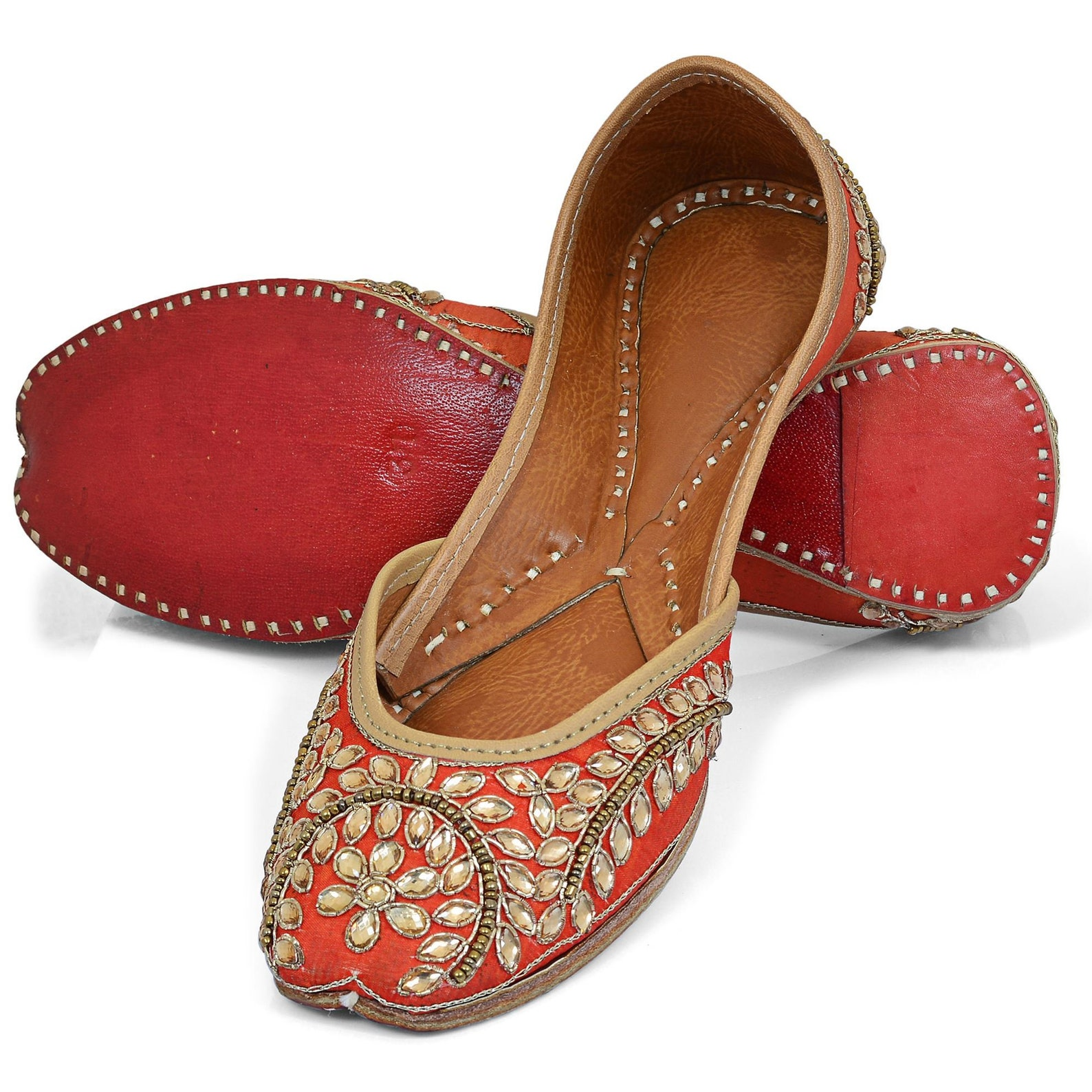 women handcrafted leather footwear/ gotta mojris / khussa shoes, punjabi juttis / ballet shoes, jooties with embroidery