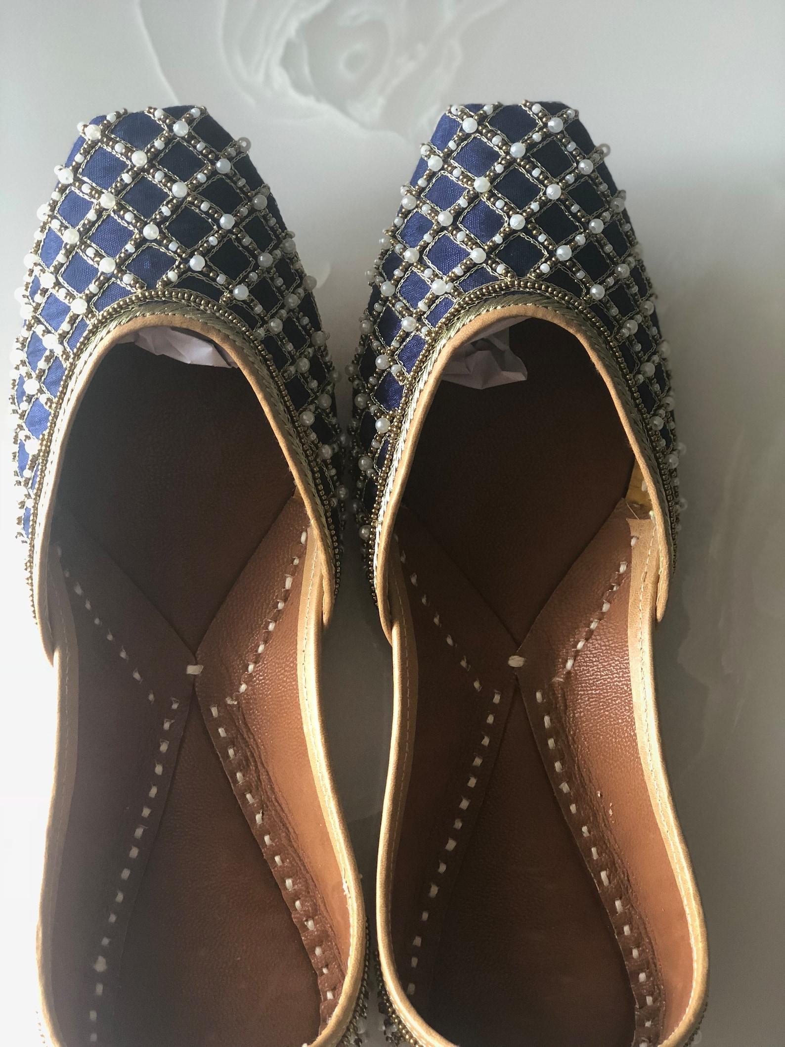 blue bridal shoes, indian ethnic juttis, embellished wedding shoes, white beaded punjabi juttis, indian footwear, blue ballet sh