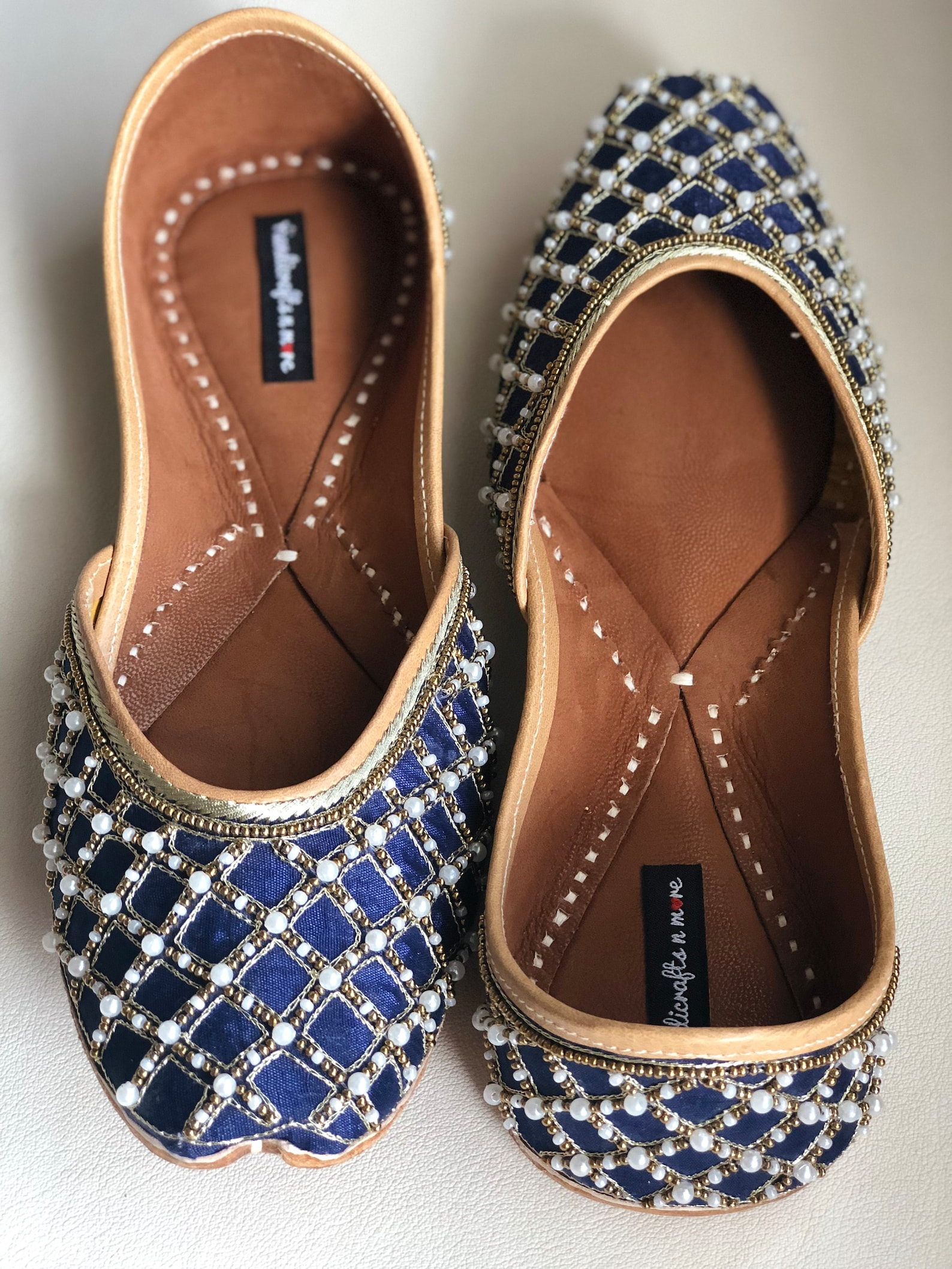 blue bridal shoes, indian ethnic juttis, embellished wedding shoes, white beaded punjabi juttis, indian footwear, blue ballet sh