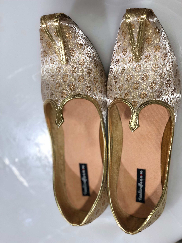 Men Indian Shoes Wedding Handmade Groom Khusssa Red Flip flop Flat Jutti Mojari