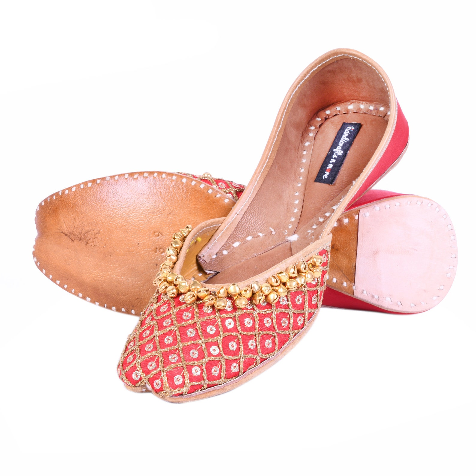 red bridal shoes with ghungaroos, red ballet shoes, embellished wedding shoes, embroidered juttis, indian shoes